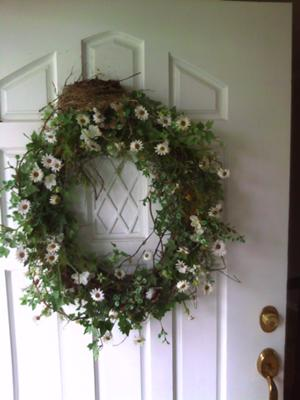 Robin Nest On Door Wreath