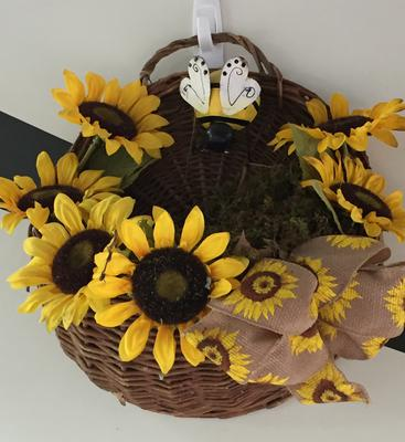 Sunflower Basket with Wren Nest