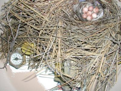 showing close up of wren nest under propane lid